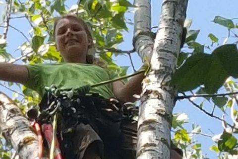 Unsere Baumschnitt-Expertin am Werk